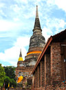 Pagoda and buddha status at wat yai chaimongkol ayutthaya thailand Royalty Free Stock Photography