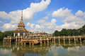 Pagoda at chalerm prakiat park phrakiat against blue sky in nonthaburi thailand Royalty Free Stock Photography