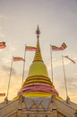 The pagoda in the evening withe it is temple it s big and faithful to buddhist thailand Royalty Free Stock Photo