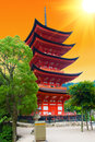 Pagoda five storied at miyajima island japan sunset Royalty Free Stock Image