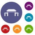 Pagoda icons set