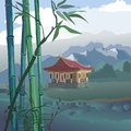 Pagoda landscape with a bamboo and mountains on the banks of the river Royalty Free Stock Image