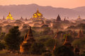 Pagoda landscape at dusk in Bagan Royalty Free Stock Photo