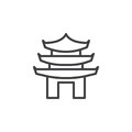 Pagoda line icon, outline vector sign, linear style pictogram isolated on white