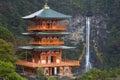 Pagoda and Nachi Falls in the Wakayama Prefecture, Japan Royalty Free Stock Photo