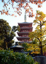 Pagoda of senso ji temple in asakusa tokyo japan five storied Stock Images