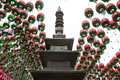 Pagoda surround by lanterns in seoul lantern festival Stock Photography
