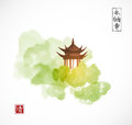 Pagoda temple and green forest trees on white background. Traditional oriental ink painting sumi-e, u-sin, go-hua Royalty Free Stock Photo