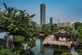 Pagoda temple pond Kowloon Walled City Park Hong Kong Royalty Free Stock Photo