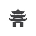 Pagoda tiered tower icon vector, filled flat sign, solid pictogram isolated on white.