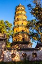 Pagoda was taken in the buddhist temple of jinci taiyuan china it is an octagonal structure standing m high with seven storeys it Stock Photos