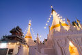 Pagoda the white in the north of thailand in dusk time Stock Photography