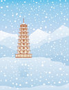 Pagoda - Winter Stock Photo