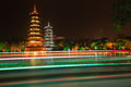 Pagodas guilin china night shot of gold and silver guangxi reflections in lake is famous for its city tour through two Stock Photo