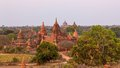Pagodas hidden in the vegetation at sunset bagan burma myanmar Royalty Free Stock Photography