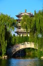 Pagodas, stone bridge, and willow Stock Photography