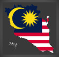 Pahang Malaysia map with Malaysian national flag illustration