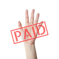 Paid red stamp hand concept isolated white background Stock Photos