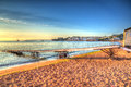 Paignton beach devon england colourful hdr on warm summer morning with blue sky in and colours Stock Images