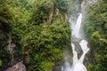 Pailon del diablo waterfall in the andes mountain river and banos ecuador Stock Photos