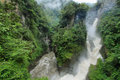 Pailon del diablo waterfall ecuador in a rainy day Stock Images