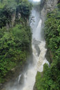 Pailon del diablo waterfall ecuador in a rainy day Royalty Free Stock Photo