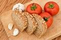 Pain et tomates d'ail Image stock