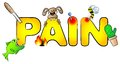Pain with many aches vector illustration of the word Stock Photos