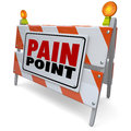 Pain point sign warning danger customer problem difficulty need words on road construction barrier or to illustrate a issue or Royalty Free Stock Photo