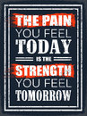 The pain you feel today grunge design poster for your gym is strength tomorrow Royalty Free Stock Photography