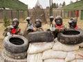 Painball Team at firing position Royalty Free Stock Photo