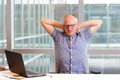 Painful tense neck muscles office male worker suffering from Stock Images