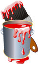 Paint brush can cartoon Stock Image