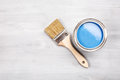 Paint brush on the can. Top view. Royalty Free Stock Photo
