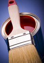 Paint brush and cans Royalty Free Stock Photos