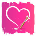 Paint brush heart shape background Royalty Free Stock Photos