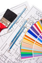 Paint brush, pencils, drawings and color guide Royalty Free Stock Photo