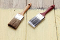 Paint brush on a wooden background   Stock Photo