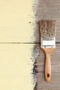 Paint brush on a wooden background Royalty Free Stock Image