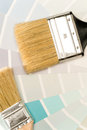 Paint brushes and shade card Royalty Free Stock Photo