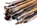 Paint brushes on white background old a Royalty Free Stock Photography