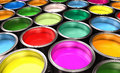 Paint buckets close up of colorful Royalty Free Stock Image