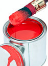 Paint can with dripping brush isolated on white Royalty Free Stock Photo
