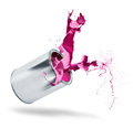 Paint can falls color splash Stock Photography