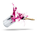 Paint can falls color splash and brush fall bursting pink red Stock Images