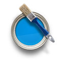 Paint can high angle view of blue with brush isolated on white background Stock Photography
