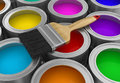 Paint cans with brush (clipping path included)