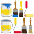Paint cans, brushes and rollers
