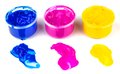 Paint cans and color dabs of paint Royalty Free Stock Photo