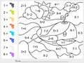 Paint color by addition and subtraction numbers worksheet for education Royalty Free Stock Photos